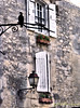 Crow and shuttered window in France (jillrowlandwv) Tags: wall brick brickwall shutters window europe france rustic earthtones rodiron latern stone stonewall