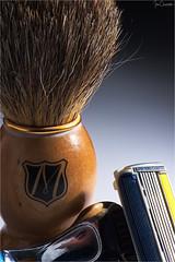 Traditional Shave/Modern Shave (iecharleton) Tags: macromondays readyfortheday shaving razor brush shavingbrush macro closeup product blade handle bristles gradient stilllife