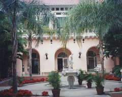 Palm Beach  Florida - Whitehall - Flagler Museum- Courtyard (Onasill ~ Bill Badzo) Tags: courtyard palmtrees fountain water whitehall museum flagler exterior architecture neoclassical beaux arts style white building nrhp historic palmbeach fl florida breakers row standard oil henry palace mansion winter christmas onasill gildedage winterretreat wealthy architects carrere hastings marble register tours guided lakeworth hotel rail car private road tree sky grass