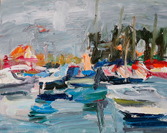 Colorful Gray Morning at the Marina (http://annafineart.net/) Tags: expressionism imprrssionist contemporary modernart gallery artstudio pleinair oilcolors mixed mixedmedia modern landscape landscapes seascape annafineart sea port boat boats seaport seascapes abstract abstractart abstractpainting art arts painter dailypainter artist oil painting paintings fineart finearts oilmedia oilpainting impasto waves annafineartstudio