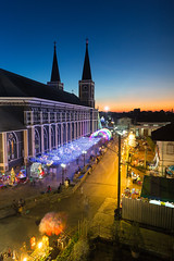 The Chanthaburi Cathedral and beautiful sky at dusk. (baddoguy) Tags: aerial view alley ancient civilization architecture awe beauty in nature building exterior built structure cathedral catholicism christmas decoration lights church color image copy space diminishing perspective dusk electric lamp famous place gothic style happiness high angle hope concept igniting lighting equipment local landmark majestic national no people photography praying religion road sky spiked street sunset thai culture thailand travel destinations twilight unusual vertical
