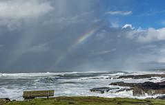Pot of Gold Seat (acase1968) Tags: pacific ocean oregon coast rocky shore devils churn nikon d500 nikkor 24120mm f4g beach rain storm partly cloudy clouds surf outdoor wave water sea waterfall landscape cloud yachats rainbow