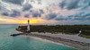 The Lighthouse In Key Biscayne (Stuck in Customs) Tags: florida keybiscayne miami treyratcliff stuckincustoms stuckincustomscom aurorahdr hdr hdrtutorial hdrphotography hdrphoto usa travel lighthouse sunset sky ocean sea drone dji mavic pro blue orange red clouds light