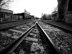 Bushwick Train Tracks (MassiveKontent) Tags: traintracks brooklyn bushwick streetphotography bwphotography streetshot gopro fisheye geometric lines symmetry bw contrast city monochrome urban blackandwhite streetphoto nyc newyorkcity urbandecay rail railway