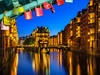 Wasserschlößchen in Hamburg (fotoperle:))) Tags: deutschland germany hamburg bluehour blauestunde speicherstadt hafencity liebesschlos schlos schlösser brücke brigde spiegelung reflections licht lights langzeitbelichtung longexposure