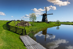 Windmill Reflection (Johan Konz) Tags: classic dutch polder landscape windmill bovenmoleng schermer schermerhorn netherlands outdoor blue sky white clouds watercourse water reflection grass field reed fence tree nikon d7500 heritage hff