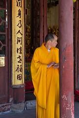 Monk and smartphone, Longhua Temple, Shanghai (chrisjohnbeckett) Tags: monk buddhist smartphone longhuatemple shanghai china portrait writing chinese orange robes canonef24105mmf4lisusm chrisbeckett