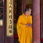 Monk and smartphone, Longhua Temple, Shanghai thumbnail