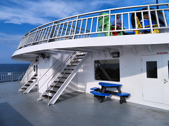 Ferry, Georgian Bay, Ontario, Canada (duaneschermerhorn) Tags: boat ship ferry deck stairs observationdeck bench table water bay blue sky white clouds