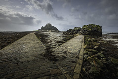 St Micheal's Mount (Swirly_Magnolia) Tags: st micheals mount corm wall england uk micheal causeway cobbles sea sky blue cloudy low tide amazing building castle view interesting beautiful nikon religious historic monument capture clear high path wide angle tamron lens