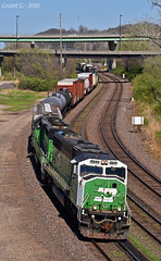 """Westbound Transfer in Kansas City, MO (""""Righteous"""" Grant G.) Tags: up union pacific railroad railway bn burlington northern emd power engine locomotive kansas city missouri west westbound transfer freight yard job"""