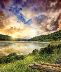 In due (Gio_guarda_le_stelle) Tags: river sunset clouds woods grass green blue sun light hill fiume calabria cielo nuvole paesaggio italy italia riflesso reflection