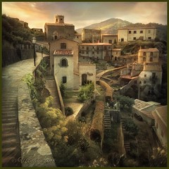 "from the series ""Walks in Italy"". Evening in Savoca. (Sicily) (odinvadim) Tags: textured mytravelgram iphoneart iphone iphoneography iphoneonly evening specialist snapseed painterlymobileart textures travel artist landscape church"