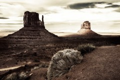 Monument Valley (garshna) Tags: themittens monumentvalley buttes mesas desert clouds sky monochrome toned landscape