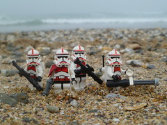 """""""Revenge of the 5th"""": - Clone Shock Troopers on the beach. (Working hard for high quality.) Tags: lego minifigure revenge 5th star wars clone trooper galactic empire shocktrooper squad beach sand rocks pebbles mist clouds tides"""