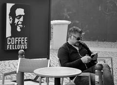 Berlin street - fellows (rafasmm) Tags: berlin street streetphoto streetlife people walk streets urban life monochrome blackwhite black white fellows coffee outdoor nikon d90 sigma 1020 ex