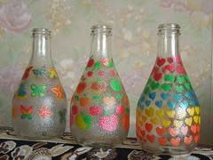 vases (cloversun19) Tags: vase vases handmade painting paint sofa wallpaper wall stilllife glass bottle bottles butterflies apples hearts color colours cherry cherries