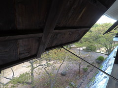 Castle window _orig_LG (Hazbones) Tags: iwakuni yamaguchi yokoyama castle kikkawa suo chugoku mori honmaru ninomaru demaru wall armor samurai spear teppo gun matchlock map ropeway