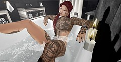 Thinking Of You (Dakota Stargazer Mirabella) Tags: bathing soapy male candle belleza tattoos red hair lover paradise thoughts secondlife avatar love bath tub relaxing bathroom