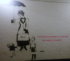 don't get caught (n.a.) Tags: stencil spray street art diana poppins umbrella bambi naughty dont get caught harrods bag flying