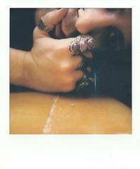 Self-portrait with make-up and jewelry #3 (Josu Sein) Tags: selfportrait autorretrato polaroid analog analógico makeup maquillaje nailpolish pintauñas jewelry joyería bisutería rings anillos cinematic cinemático mystery misterio shadows sombras queer josusein