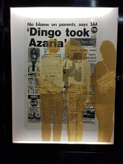 Magistrate Dennis Barritt image in the article about the Azaria Chamberlain case in the Melbourne Press Club window, Melbourne city in May 2018, Victoria, Australia. (Michael J. Barritt) Tags: citystreets streetart melbourne city may 2018 victoria australia