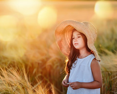 Girl in a straw hat on wheat  field (marmadyuk) Tags: summer outdoor white hat yellow field wheat straw portrait girl rural nature happy grain fun agriculture happiness sunny countryside smile sky golden landscape cereal summertime kid ripe preschooler grow preschool sprout bright head crop outside cropland sunshine small stem person childhood smiley laugh joy child peaceful environment harvest little rye nikon