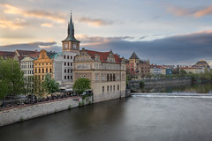Vltava River, Smetana Museum in the Former Waterworks and Old Water Tower at Sunrise, Prague, Czech Republic (ansharphoto) Tags: architecture bohemia building cafe capital city cityscape cloud composer culture czech dawn embankment europe european exterior facade famous gothic historic history house landmark landscape medieval morning museum old prague praha quay republic restaurant river riverbank sky skyline smetana street sunrise tourism tower town travel urban view vltava water watertower waterworks