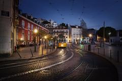 Tramway Street Lisbon Portugal (www.antoniogaudenciophoto.com) Tags: tramway lisbon portugal street night lightofthenight travel tourism bluehour postcard