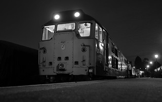 Resident Loco 31438 is ready to depart with the 1945 Beerex service from Ongar. Epping Ongar Railway Autumn Diesel Gala. 23 09 2017 bw