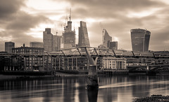 New dawn, Gotham City... (Aleem Yousaf) Tags: weather downtown classic pretty skyline london dark gotham city bridge cloud sky morning sunlight cityscape millennium river thames long exposure lee soft graduated filter nikon d810 outdoor sepia new dawn monochrome water building onstruction tower cranes skyscraper architecture