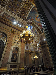 Cathedral Interior (peterphotographic) Tags: stpetersburg saintpetersburg russia ©peterhall росси́я санктпетербу́рг p3190101edwm saintisaacscathedral olympus em5mk2 microfourthirds church cathedral orthodox building interior god golden chandelier mosaic painting art religion column ceiling