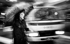 Elementary (Frank Busch) Tags: frankbuschphotography asia bw blackwhite blackandwhite bnw japan lorry monochrome people phone rain shibuya street streetphotography tokyo truck umbrella van woman wwwfrankbuschname
