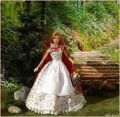Little Red Riding Hood (Mary (Mária)) Tags: barbie mattel littleredridinghood flower dress red tree forest tris divergent kaylalea kayla handmade etsy fashion outfit diorama scene rock blonde marykorcek fashionistas dollphotography dollphotographer dollcollector doll toys