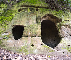Two Faced Cave (simonannable) Tags: caves haunted daleabbey hermitscave hermitswood derbyshire uk facesinplaces faces ancient fujifilmxt1 suprise england hauntedplaces secret hermitage troglodyte legend folklore mystery face rockface