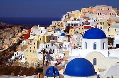 Blue Domed Churches (b16dyr) Tags: greece santorini oia architecture whitebuildings whitewashedbuildings blue bluedomes