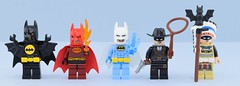 Dc minifigs #5 : Batman series (Alex THELEGOFAN) Tags: lego legography minifigure minifigures minifig minifigurine minifigs minifigurines movie batman black suit outfit dc comics super heroes series tribal chief indian cowboy bat fire ice man yellow hunter costume batsuit