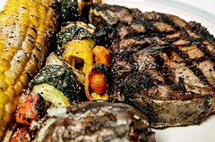 steak closeup (Anna Gurule) Tags: steak beef grill corn zuccini peppers bbq food dinner barbecue grillin grilling cooking