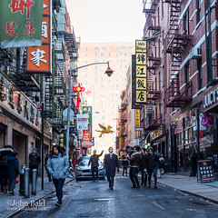 Pell Street, Chinatown, NYC (86587-NHR) (John Bald) Tags: chinatown lowermanhattan manhattan newyork newyorkcity pellstreet actor cameraman daytime drama exterior filmmaker ny pedestrians shadows sidewalk squareformat street urban winter