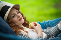 Sheltering from the rain (busby144) Tags: ivoryflame wheathampstead teaparty riversidescene nymph redheadmodel redhair femalemodel naturallightphotography