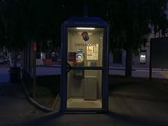 Dim Swiss Phone Booth (Lux Llama Productions) Tags: light lighting dim lugano italian italy swiss switzerland westerneurope european europe public street old vintage telephone phone payphone dimswissphonebooth