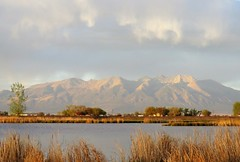 In the Golden Hour (Patricia Henschen) Tags: blanca group massif clouds spring alamosa colorado wetland goldenhour mountain mountains blancavistapark park sunset