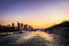Paris, France (Re-created) (Peter J. Photo) Tags: paris seine river france capital europe town sunset dark landscape architecture gold sky sunny wheel street view evening monument history traffic people water city tree park building skyline sea dusk boat