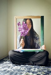[ aphasia ] (kowei) Tags: girl asian beauty lady frame room flowers analog film filmcamera taiwanese shy orchid