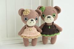 Teddy girls with cupcake dress (lilleliis) Tags: amigurumi crochet toys dolls handmade wool yarn softies plush kawaii cute lilleliis diy teddy bear brown dress