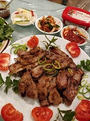 Julia's pork neck bulgogi, homemade kimchi from a friend, ssamjang (avlxyz) Tags: ssamjang lettuce rice quinoa mint coriander vietnamesemint pork bulgogi porkneck fb