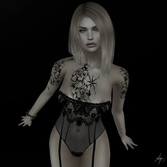 Ingrid (Algezares (III)) Tags: secondlife sexy sensual sheer lelutka lace lingerie lencería maitreya mesh tattoo juna possesion poses bw byn monochrome ebento ebentotheevent