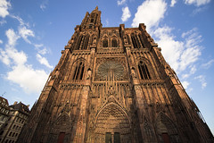 NH0A1008s (michael.soukup) Tags: strasbourg france alsace minster catholicchurch cathedral architecture gothic spire tower façade church notredame rheinland nave apse buttress rosewindow sunset lights cityscape citylights city portal stainedglass exterior münster dom skyline building sky dusk