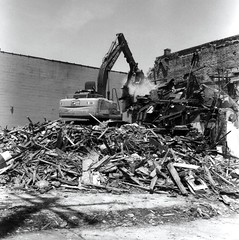 Demolition of Historic Bar, Orleans Ave (bongo najja) Tags: orleans new evs mx 35 rolleiflex fp4 ilford