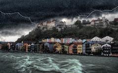 Burghausen - Bayern (Ernst_P.) Tags: bayern burghausen deutschland salzach digitalart painture photomontage gewitter thunderstorm blitz unwetter burg castle castillo tormenta germany bavaria river rio agua rain regen lluvia